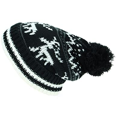 bf7bb8cb32a Macahel Chunky Slouch Bobble Beanie Hat With Reindeer Pattern - Black   Amazon.co.uk  Clothing