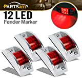 Partsam 4X Red Sealed Chrome Armored LED Trailer