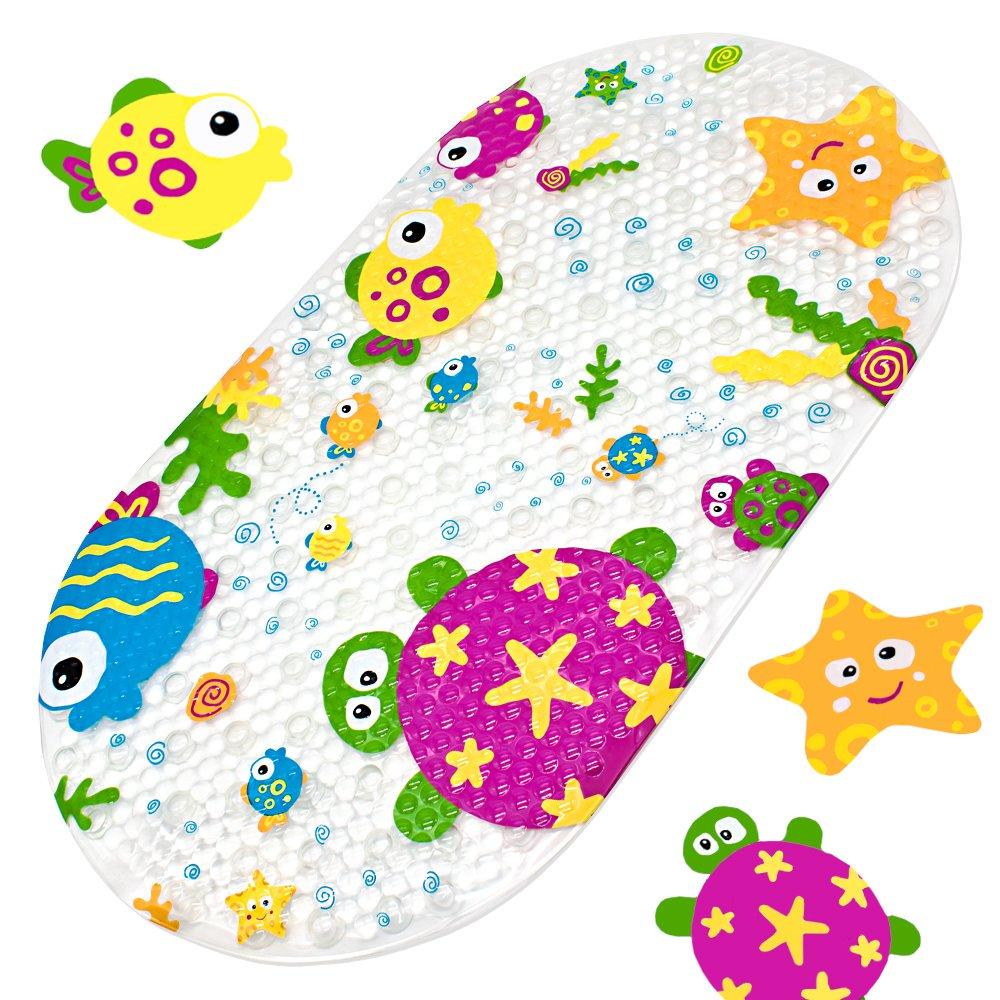 Alfombrilla para bañera bañera bañera (yolife Schön Pato Suckers plástico antideslizante schönen aspecto antideslizante baño pvc Caricatura Bosquejo Masaje Ducha Baño con ventosas para bebé niños 39x 69cm