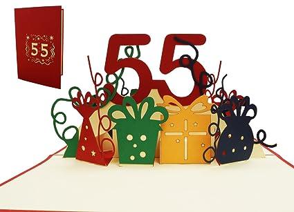 Lin Pop Up 3d tarjeta de felicitación, cumpleaños tarjeta 55 ...