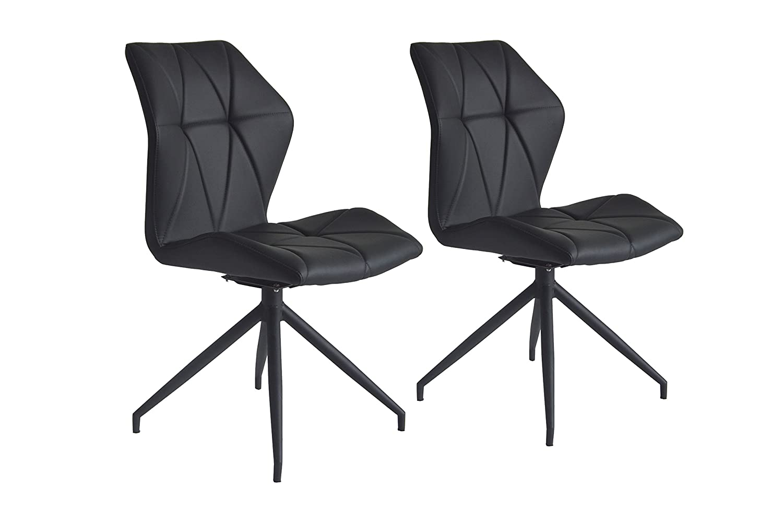 cavadore stuhl indira 360 drehbar 2er set stuhl ohne armlehne in modernem design - Drehbare Ledersthle Wohnzimmer