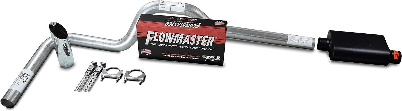 "XsvFLO Exhaust Kits - Shopline Single Exhaust System 3in AL pipe Flowmaster 40 Series 3"" Chrome Slash Cut Weld on Tip For Silverado, Sierra, F-Series,& Ram"