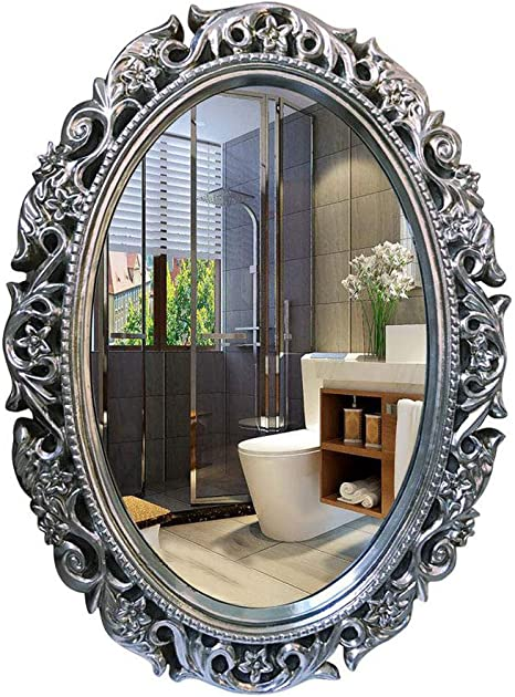 Amazon Com Vintage Shabby Chic Dressing Mirror Wall Mounted Bathroom Mirrors Entrance Cosmetic Mirror For Living Room Bedrooms Hall Hallway Antique Silver 60x80cm Home Kitchen