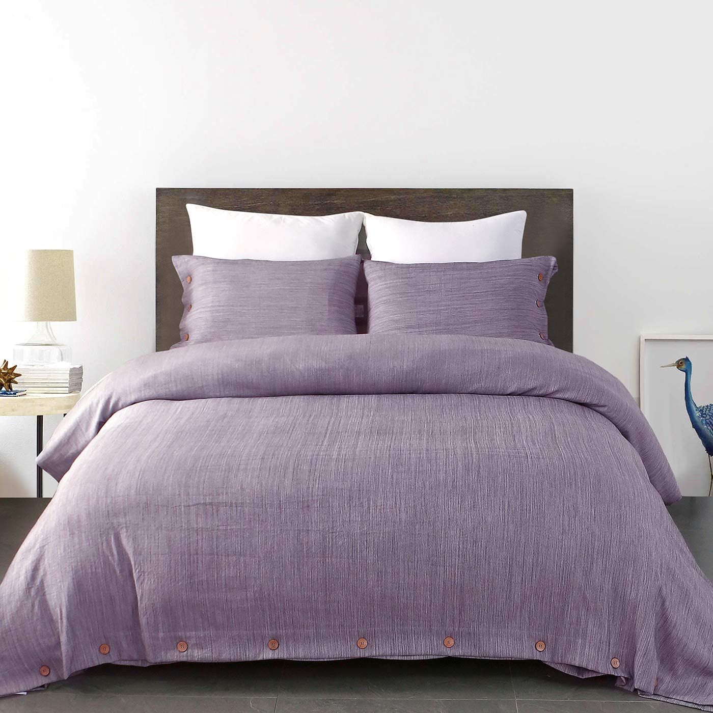 Linen Like Solid Color Bedding Comforter Cover Set with Button Closure (Purple, Queen)