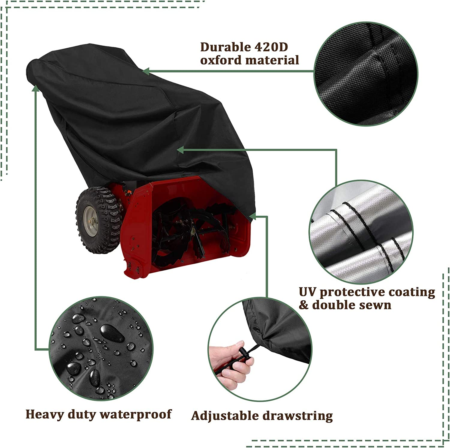 50x35x43In Black Design with Double Seam and Drawstring AKEfit Snow Thrower Cover Waterproof UV Protection Heavy Duty Snow Blower Cover Durable Patio Cover for Electric Snowblowers