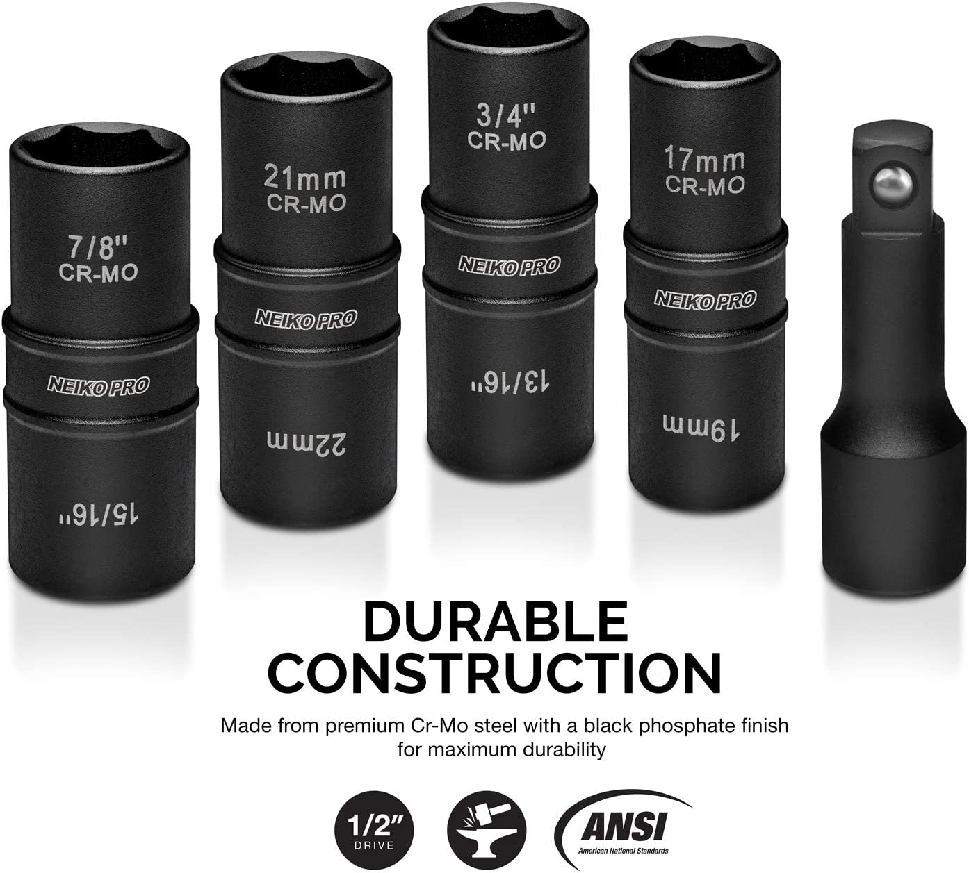 """Neiko 02282B 1/2"""" Drive Impact Flip Socket Set, 5 Piece Thin Wall Set 