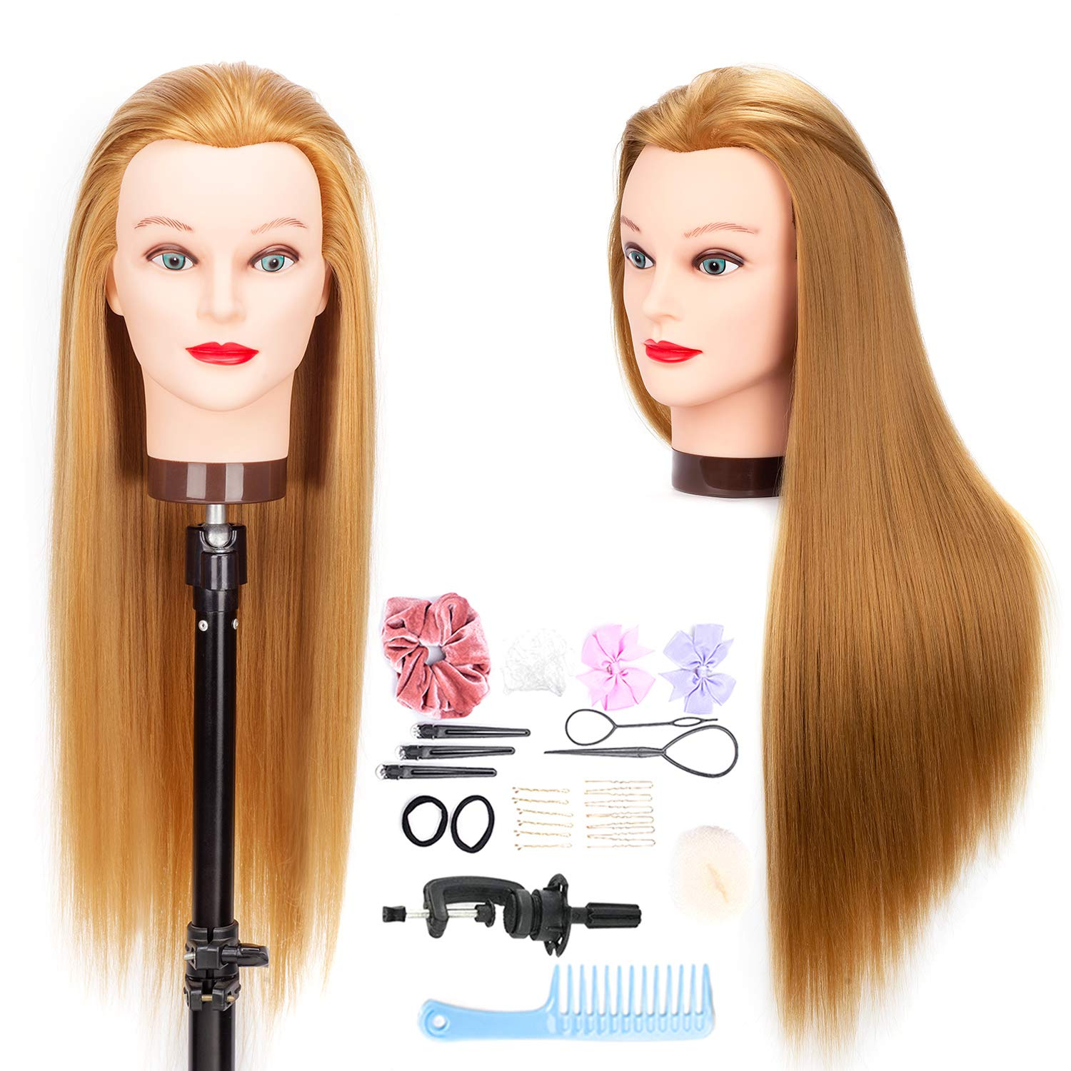 Amazon Com Mannequin Head Hair Styling Training Head Braiding Manikin Cosmetology Doll Head With Stand Synthetic Fiber Hair 26 Inches Hx2701 Beauty