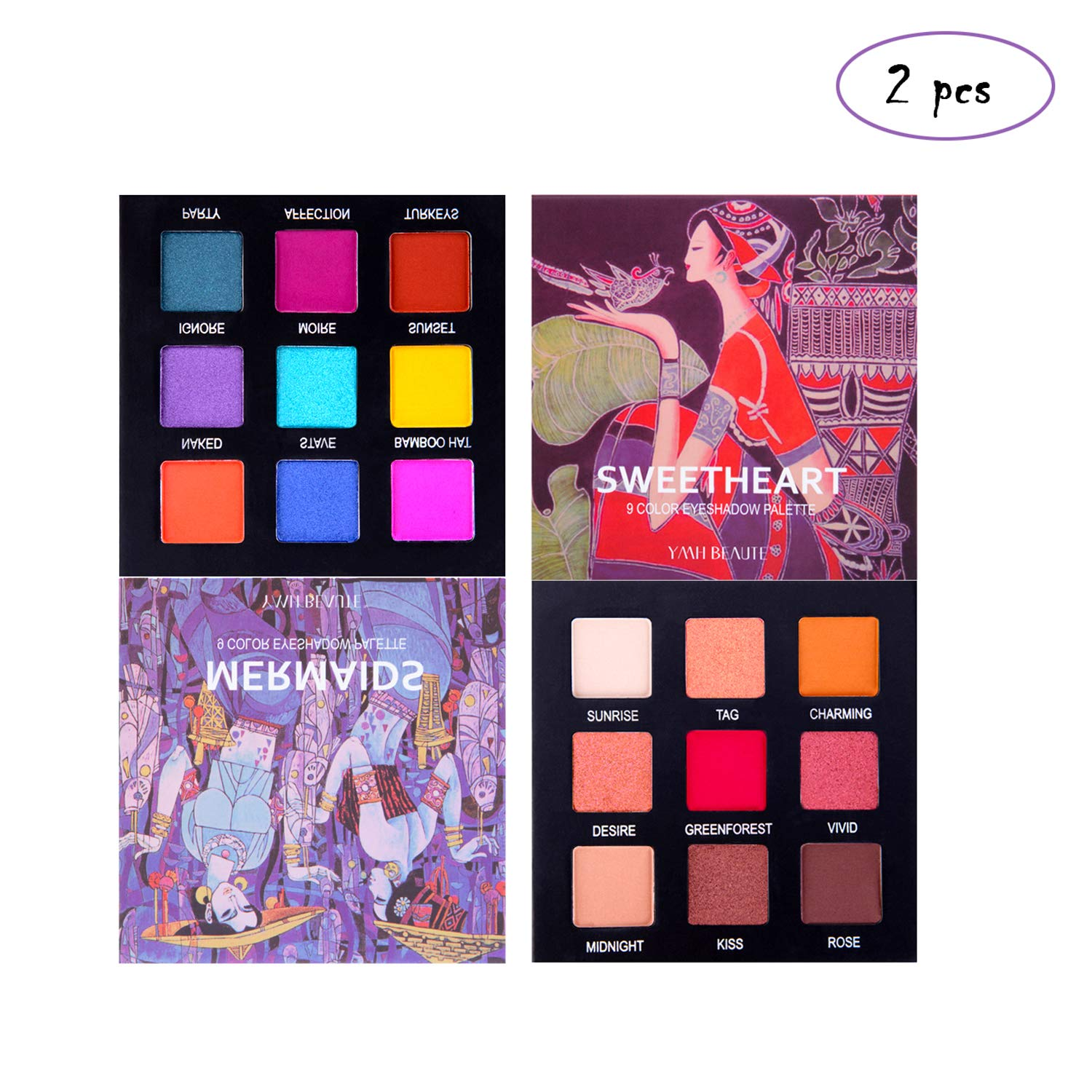 Highly Pigmented Eyeshadow Palette - YMH BEAUTE 9 Bright Colors Eye Shadow Palettes Matte Shimmer Eyeshadow Makeup Palette Long Lasting Cosmetics, Cruelty-free (Mermaids + Sweetheart)