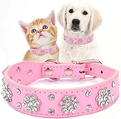 Adjustable Pet Dog Cat Collar Rhinestone Heart PU Leather Necklaces XS//S//M//L