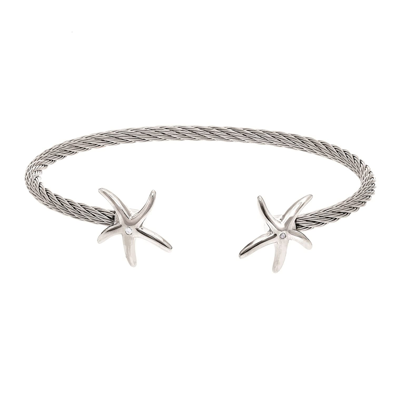 Stainless Steel+Silver Cuff Bangle with 0.01Ct.Diamond