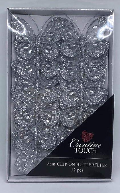 12 x 8cm mesh clip on glitter butterflies wedding craft scrapbook  decoration