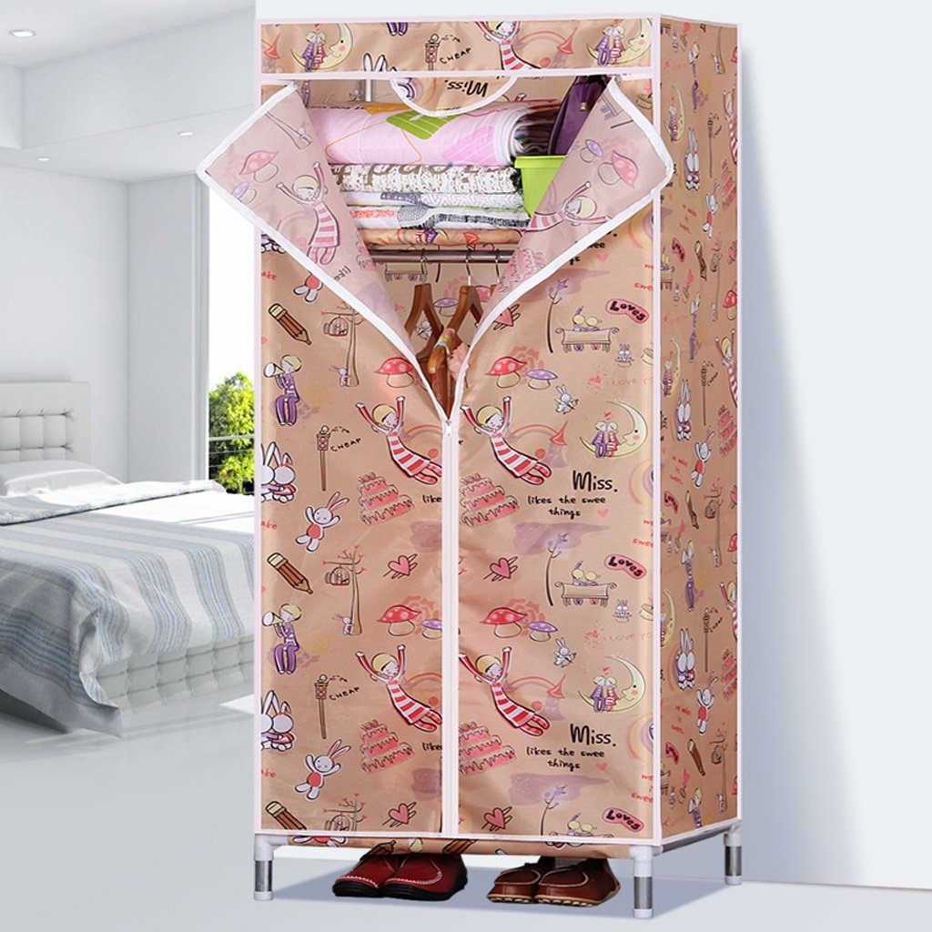 1 MMM& 25MM Steel Pipe Reinforced Single Small Assembly Fully Enclosed Simple Cloth Wardrobe Oxford Cloth Wardrobes Steel Frame (color    3)