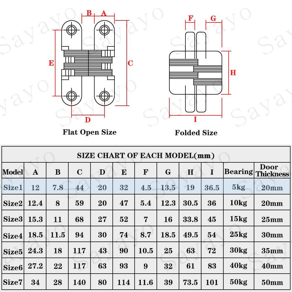 EJL13X45-2P 2 piezas Sayayo Bisagra oculta de 180 grados para gabinete Armario Caja de madera Tornillo montado Acero inoxidable Acabado cepillado