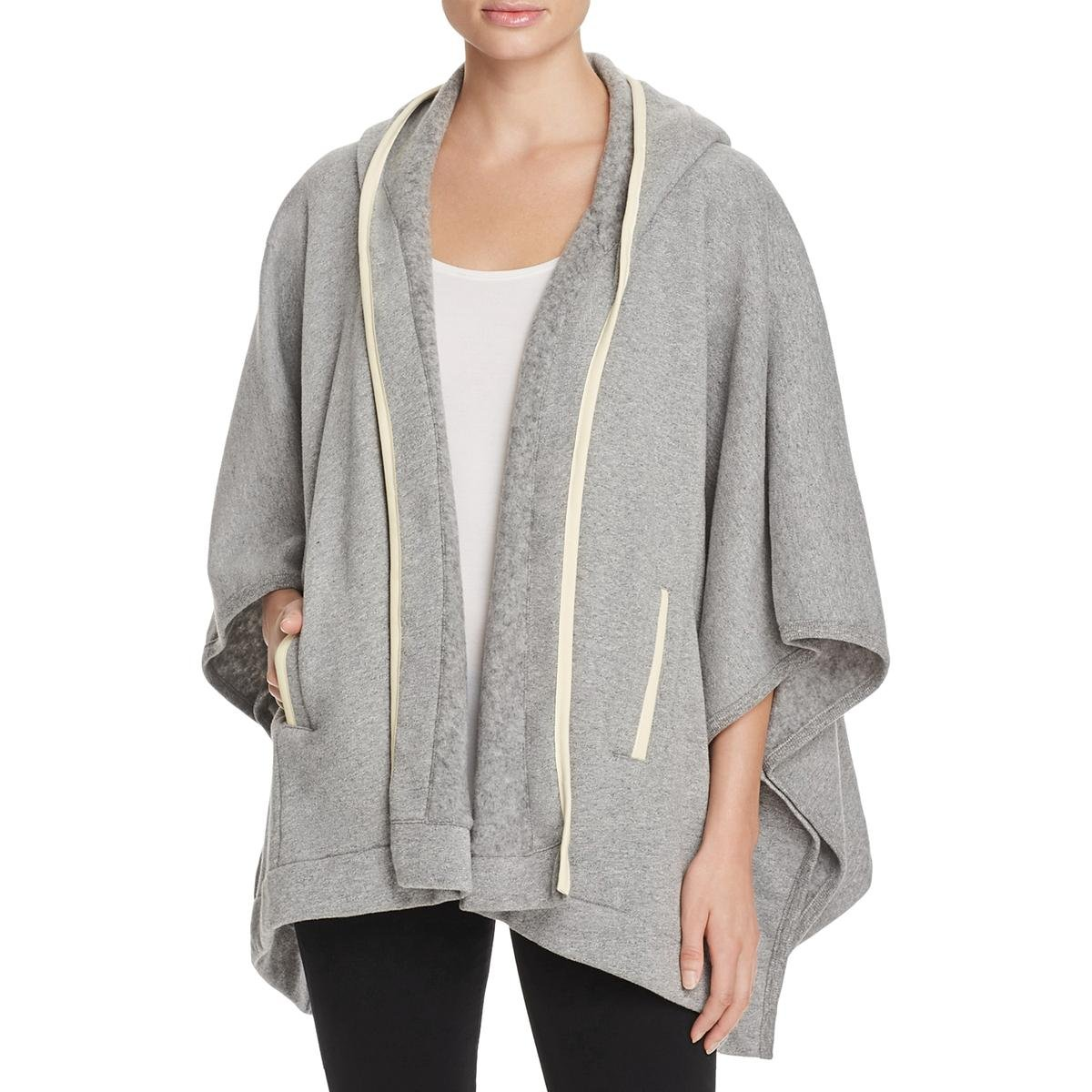 Three Dots Womens Fleece Hooded Coat Gray XS