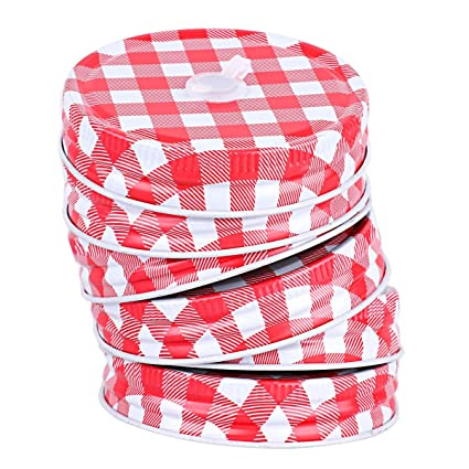 Amazon Com Chictry 6 Pack Metal Mason Jar Lids Gingham Pattern