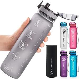 Cactaki 32oz Waterflessen met tijdmarkering, BPA vrij, niet