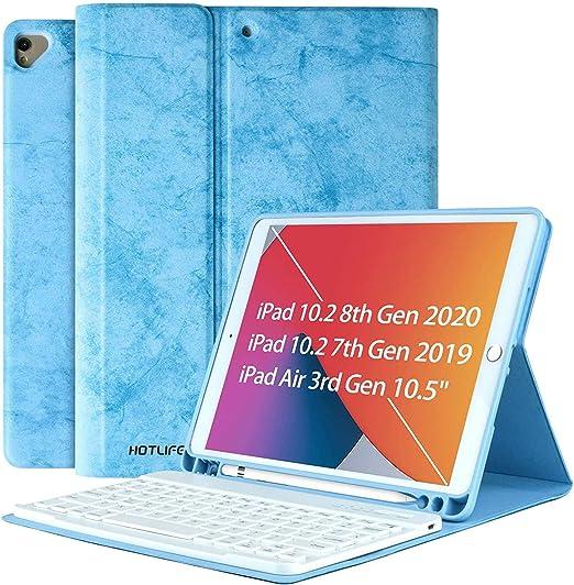 Funda Teclado iPad 10.2, Teclado Español (Incluye Ñ) para iPad 10.2 2020 y 2019/iPad Air 3 10.5 2019/iPad Pro 10.5 2017, Cubierta con Ranura de Lápiz ...