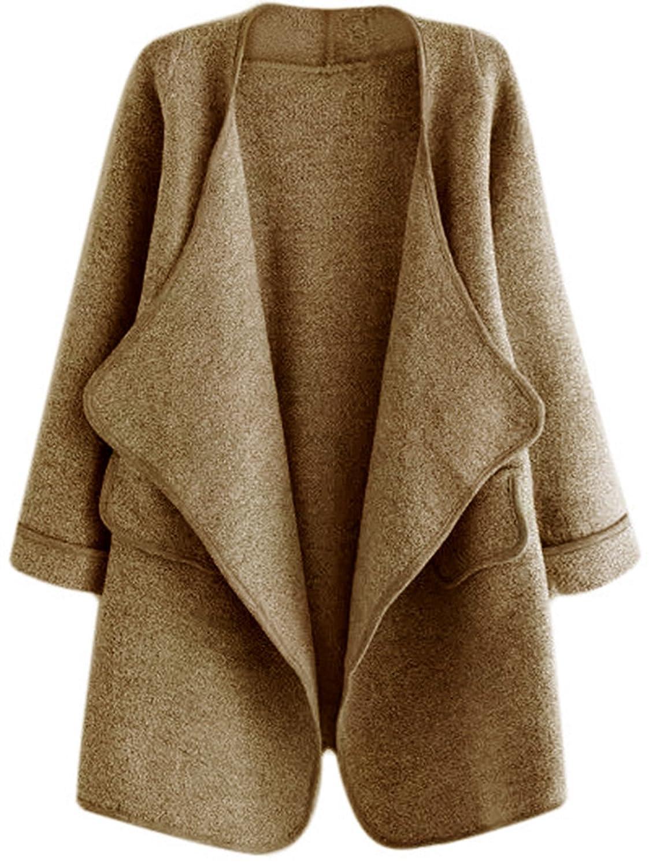 SheIn Women's Long Sleeve Cardigan Open Front Loose Sweater Coat