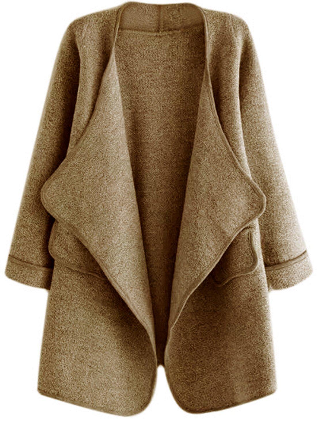 SheIn Women's Long Sleeve Cardigan Open Front Loose Sweater Coat One-Size Khaki