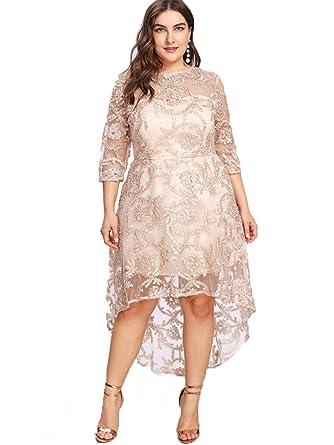 3caf436614f ESPRLIA Women s Empire Waist 3 4 Sleeve Plus Size Midi Dress (Apricot