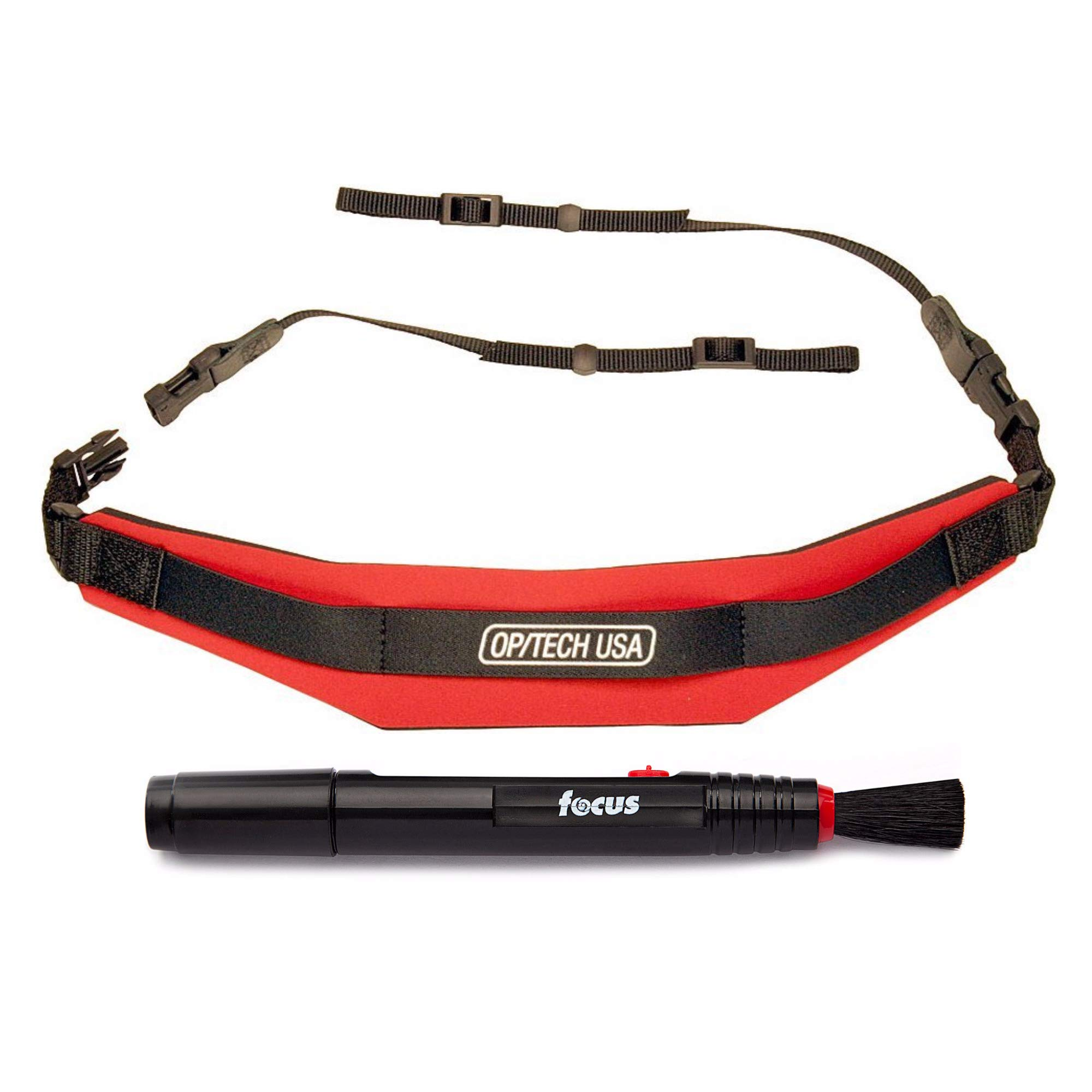 OP/TECH USA Adjustable Pro Camera Strap with Extra Comfort Neck Pad (Red) and Lens Cleaning Pen