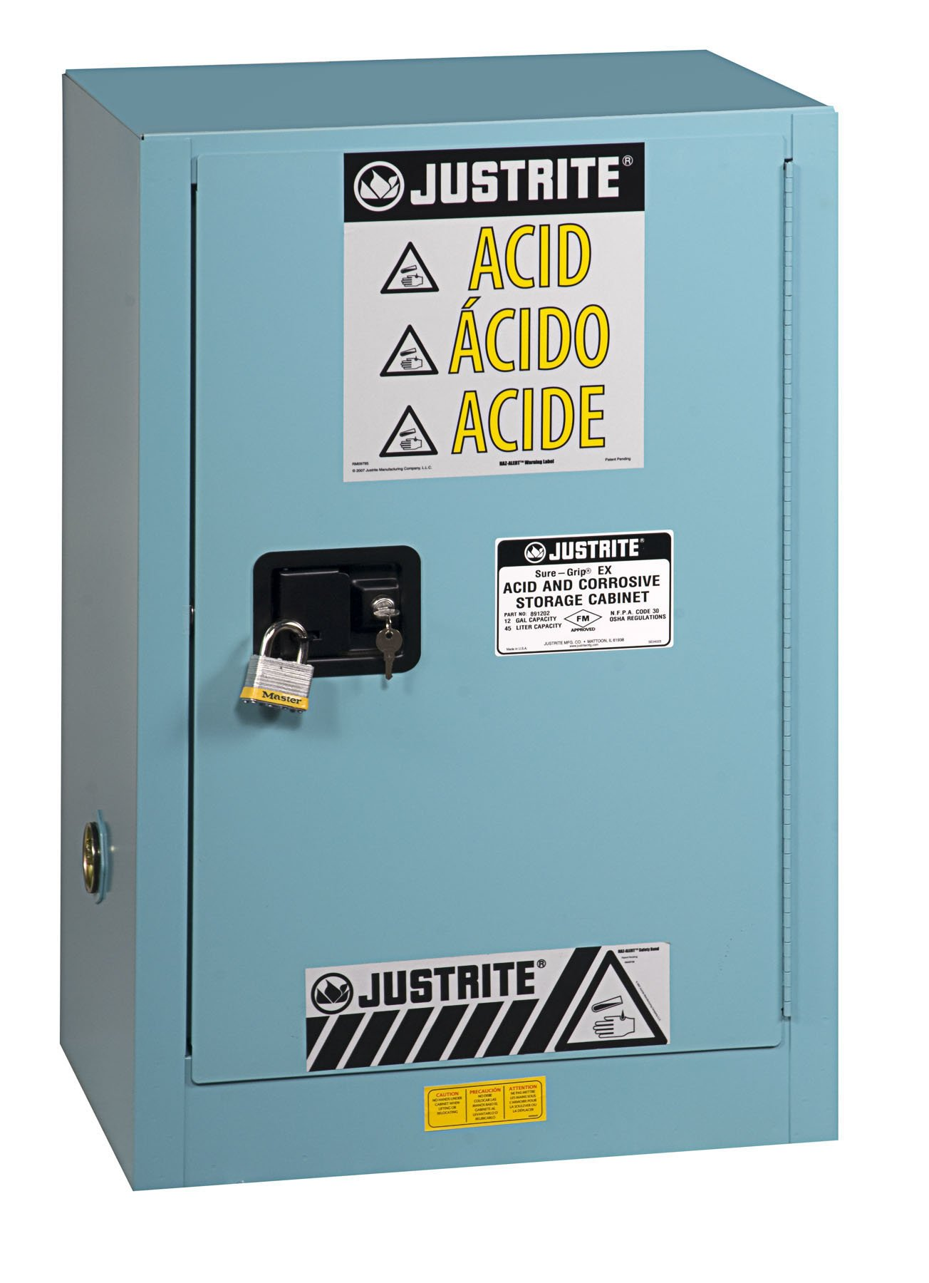 Justrite 891222 Sure-Grip EX Galvanized Steel 1 Door Self Close Compac Corrosives Safety Storage Cabinet, 12 Gallon Capacity, 23-1/4'' Width x 35'' Height x 18'' Depth, 1 Adjustable Shelfs, Blue