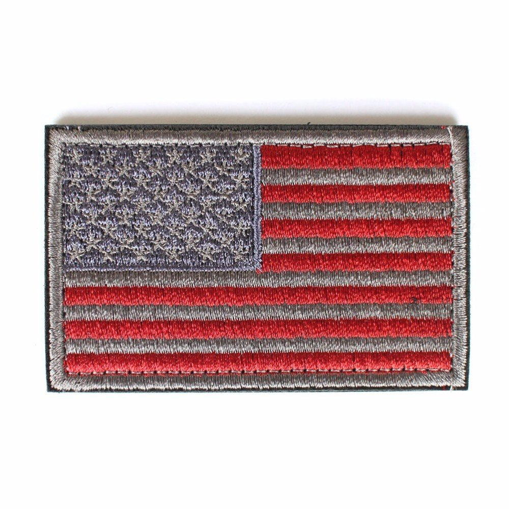 2 x 3 Backwoods Barnaby USA Morale American Flag Patch with Hook /& Loop