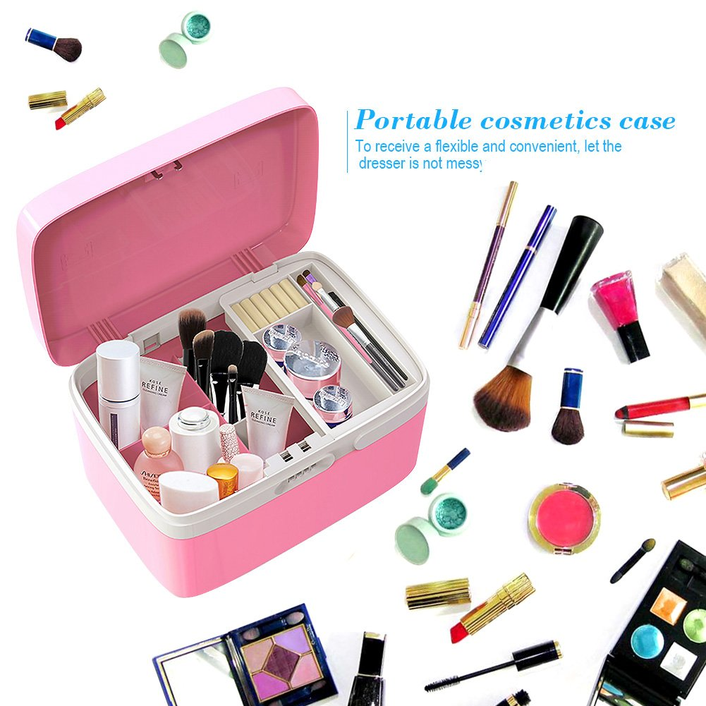 Amazon.com: Makeup Organizer Box Girly Pink Cosmetic Jewelry Organizer with  Combination Lock and Compartments