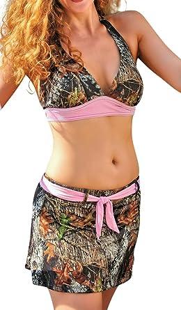 0e12ba541769a Wilderness Dreams Women's Camouflage 2 Piece Belted Swim Skirt Set (Small)