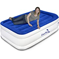 """EnerPlex Premium Dual Pump Luxury Air Mattress Airbed with Built in Pump Raised Double High Blow Up Bed for Home Camping Travel 2-Year Warranty – 15"""" High"""