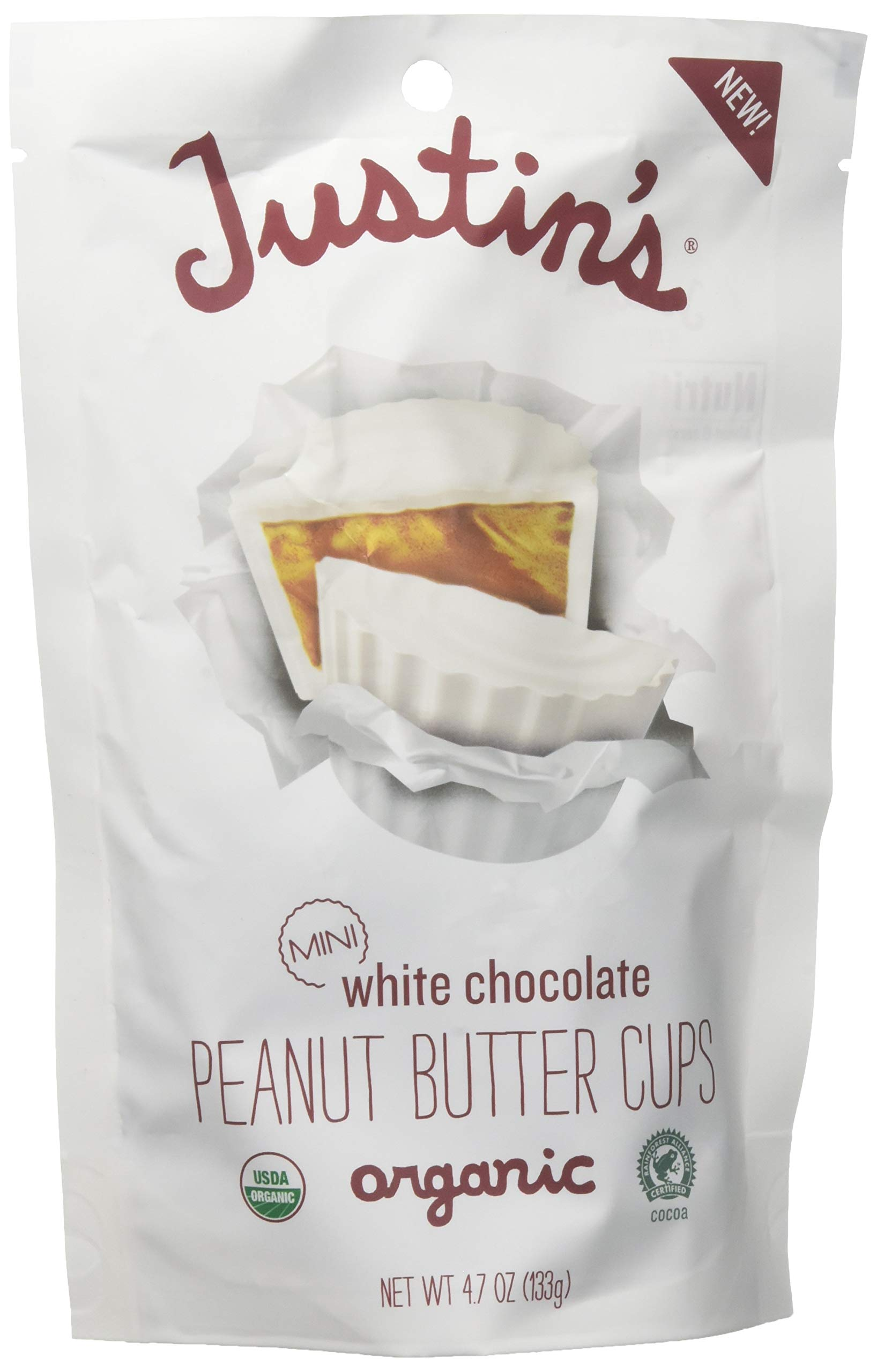 Justin's Organic Mini White Chocolate Peanut Butter Cups by Justin's, Rainforest Alliance Certified Cocoa, Gluten-free, Responsibly Sourced, 6 Stand-up Bags (4.7oz each) by Justin's Nut Butter