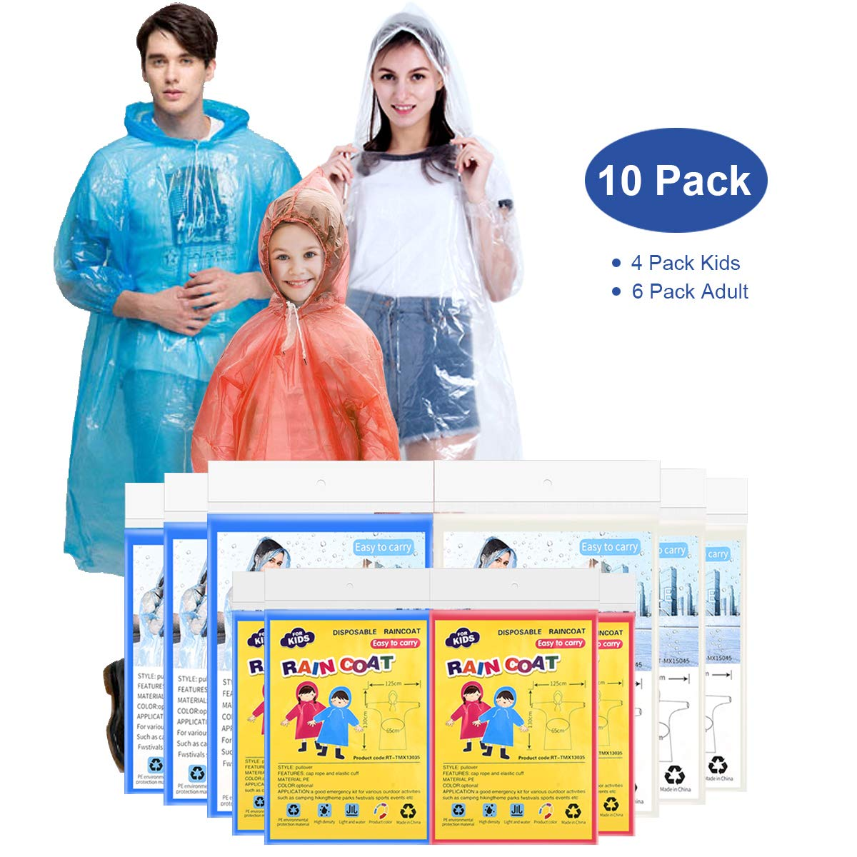 EZshoot Rain Ponchos for Family Pack Disposable(10 Pack) Emergency Raincoat Drawstring Hood Poncho for Children and Adults Thicker Quality Material 100% Waterproof Emergency Rain Ponchos by EZshoot