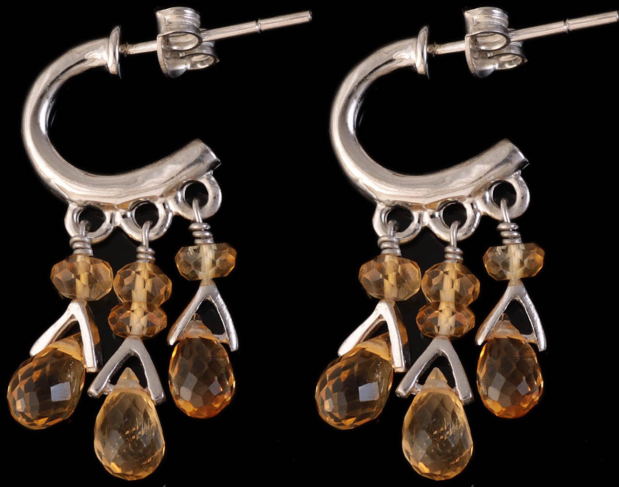 Faceted Citrine Chandeliers - Sterling Silver