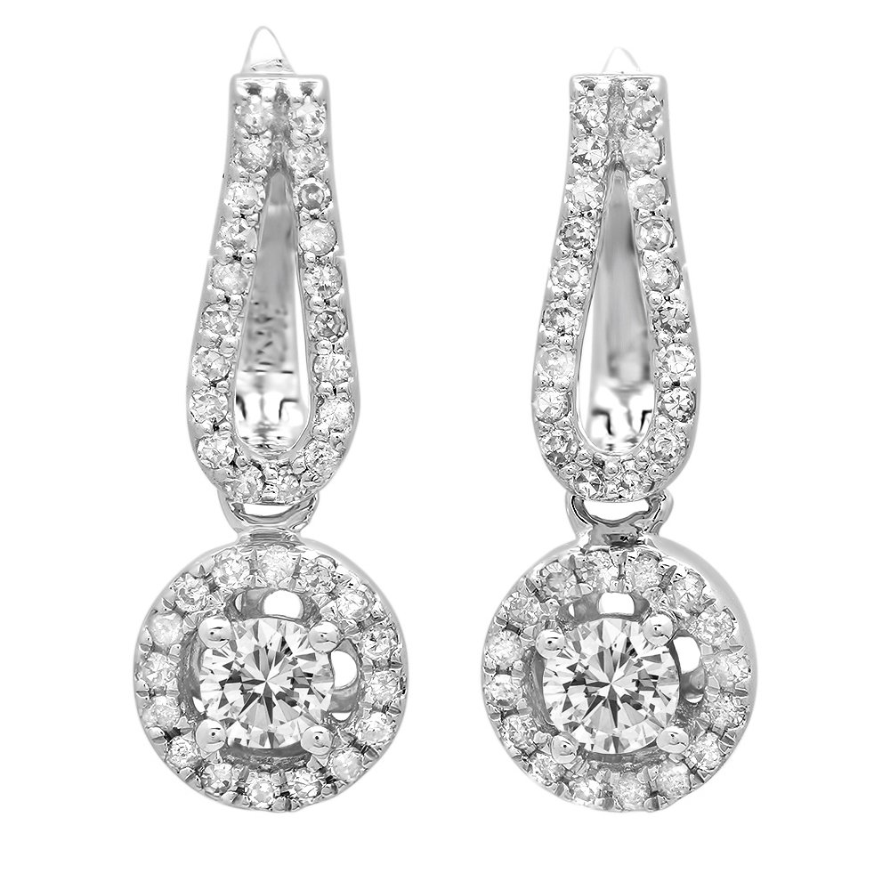 0.60 Carat (ctw) 14K White Gold Round White Diamond Ladies Halo Style Dangling Drop Earrings