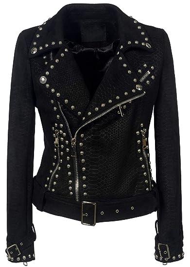 862137892a chouyatou Women's Cool Studded Asymmetric Zip Snake-Skin Perfect Suede  Leather Moto Jacket