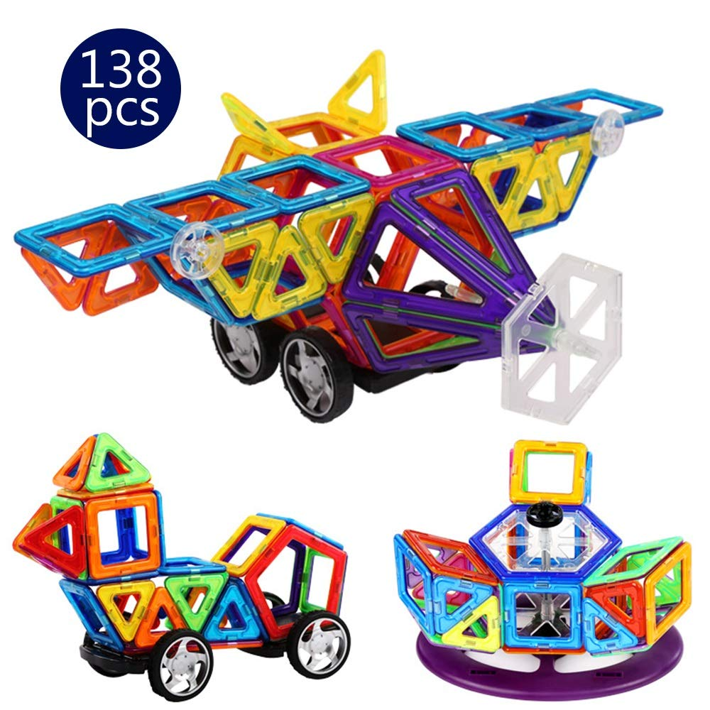 LCLZ Children's Puzzle Building Blocks Magnetic DIY Aircraft 138pcs Creativity Education Toys Building Construction Block Games for Boys&Girls Parent-Child Interaction Stacking Game Novelty