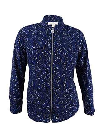 38dc6d6ffc0 Image Unavailable. Image not available for. Color  Michael Kors Women s  Star Lock Zip Shirt ...