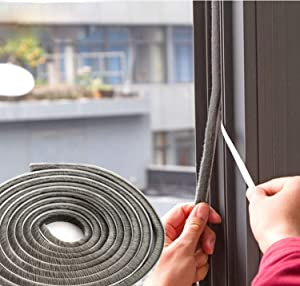 """SRHOME 32.8 ft Self Adhesive Seal Strip Weatherstrip for Window,Door,Wardrobe,Car,Perfect to Windproof Shelter from The Wind,Dustproof,Soundproof Sound Deadener (0.35"""" 0.35"""")"""