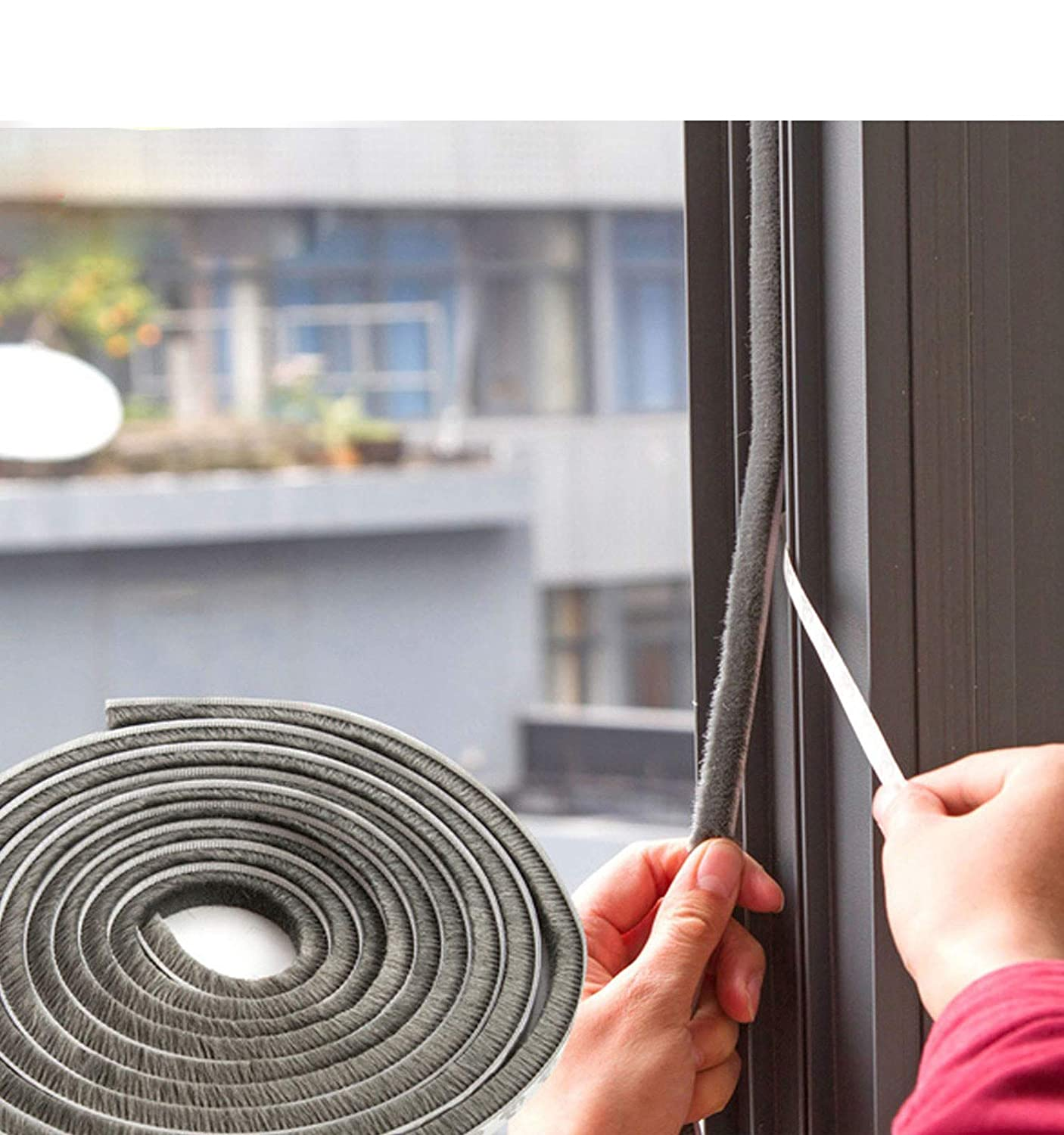 """SRHOME 32.8 ft Self Adhesive Seal Strip Weatherstrip for Window,Door,Wardrobe,Car,Perfect to Windproof Shelter from The Wind,Dustproof,Soundproof Sound Deadener (0.35"""" 0.2"""")"""