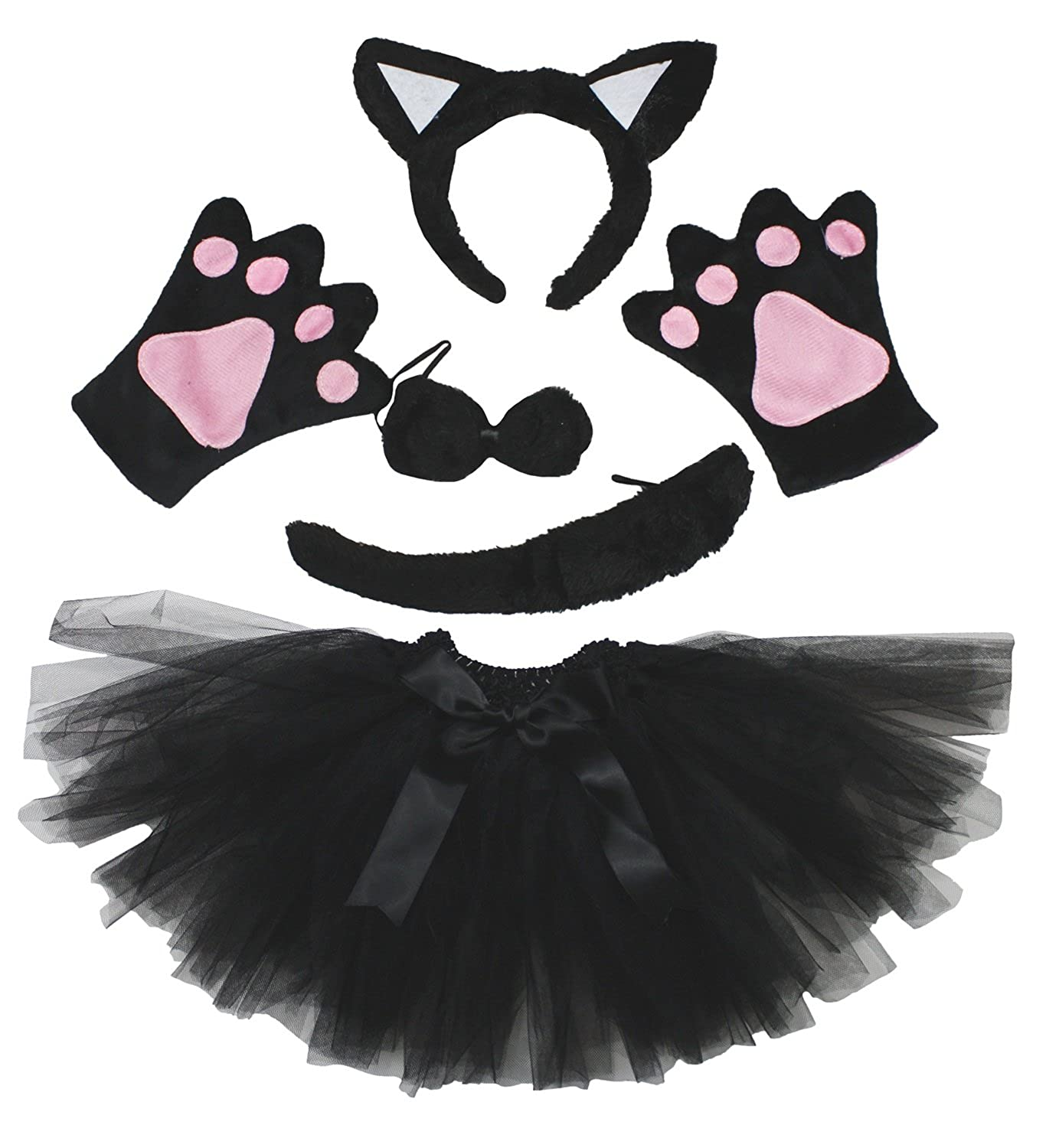 Cat Headband Bowtie Tail Gloves Black Tutu 5pc Girl Costume Dress for Party