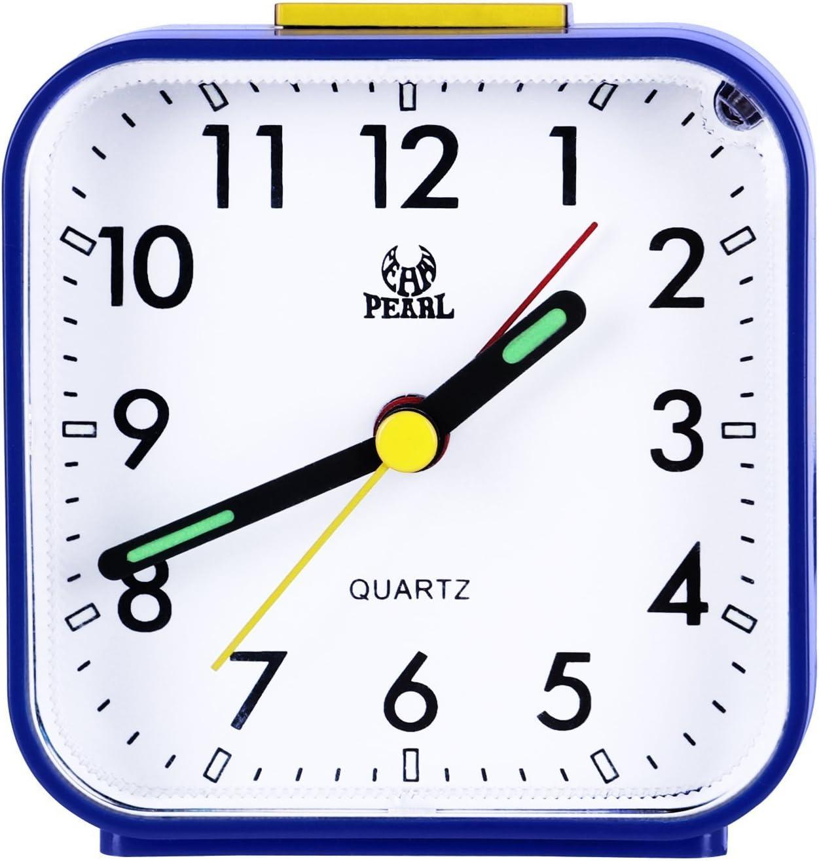 Pingenaneer - Despertador analógico con luz nocturna, sonido ascendente, alarma acústico, configuración sencilla, no hace tic-tac