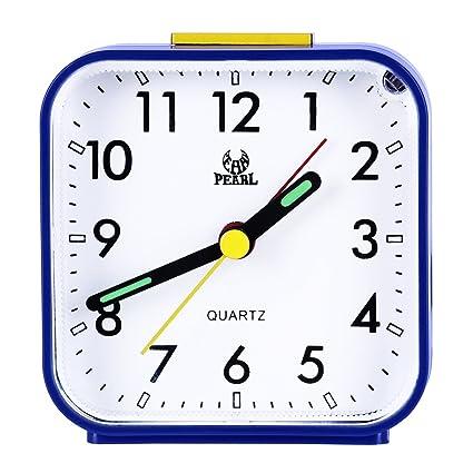 Despertador analógico con luz nocturna, sonido ascendente, alarma acústico, configuración sencilla, no hace tic-tac de Pingenaneer