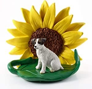 Conversation Concepts Jack Russell Terr Brown and White Rough Coat Figurine – Sunflower Statue Gift: Realistic Hand Painted Sculpture, Summer Nursery or Home Office Desk Decor, Spring Shower Present