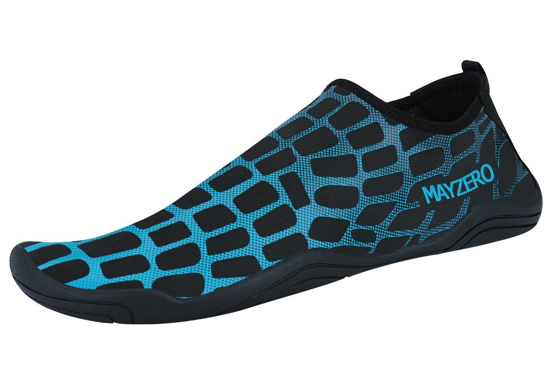 WXDZ Men Women Water Sports Shoes Quick Dry Barefoot Aqua Socks Swim Shoes (7.5 US Women/6 US Men, Grid-Blue)