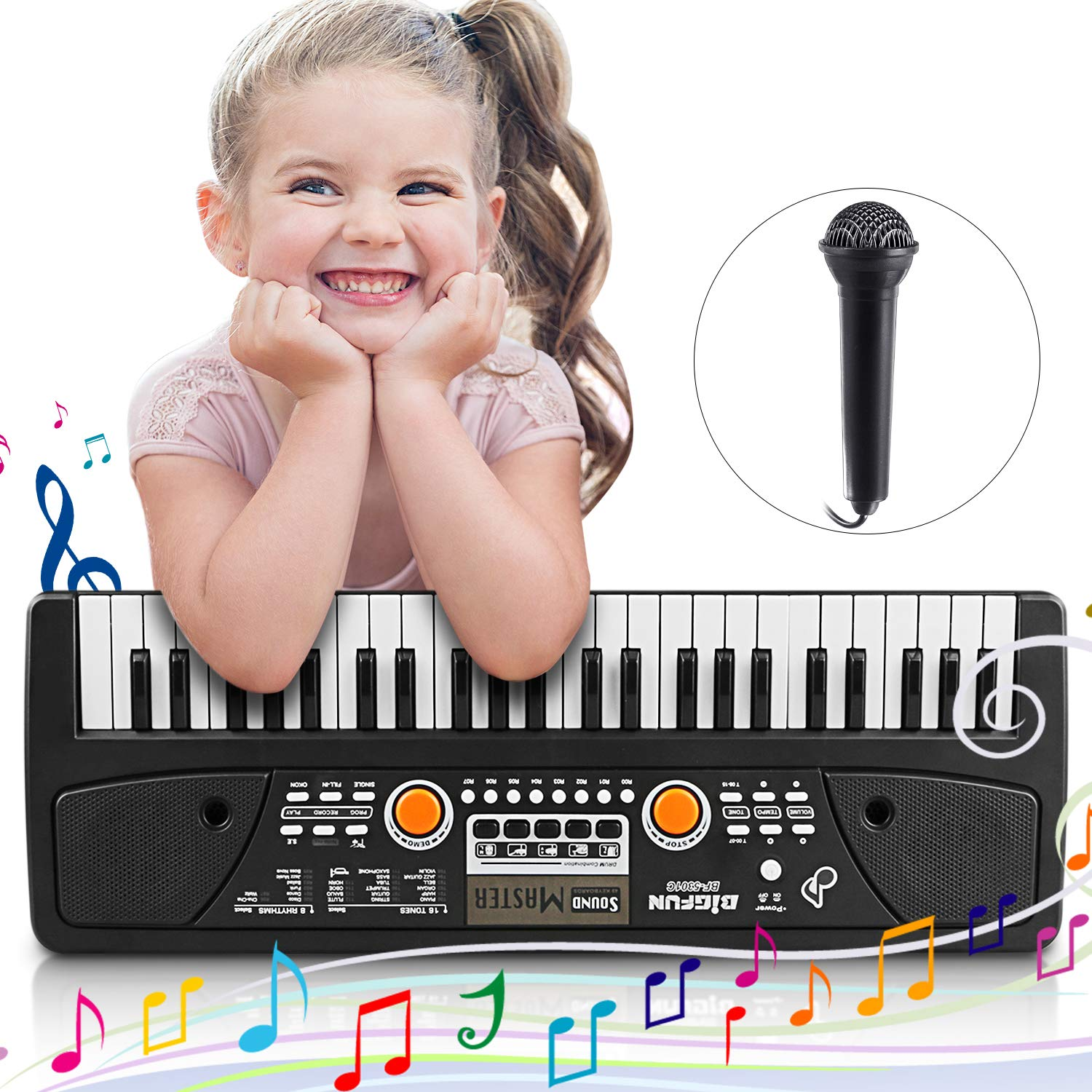 Digital Music Piano Keyboard 61 Key - Portable Electronic Musical Instrument Multi-function - with Microphone Kids Piano Musical Teaching Keyboard Toy Birthday Christmas Festival Gift for Kids MaGic-Store