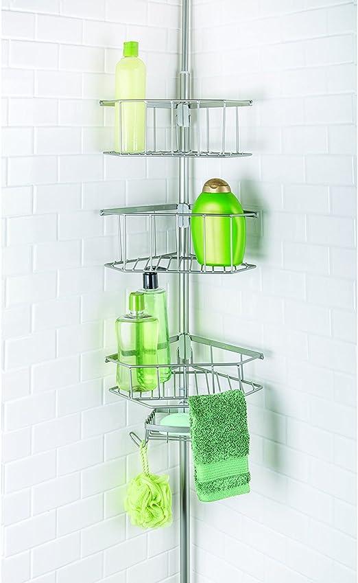 Satin Nickel NEW Shower Corner Pole Caddy Shelf Organizer Bath Storage Bathroom