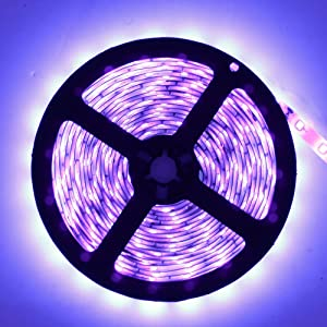 YGS-Tech 24 Watts UV Black Light LED Strip, 16.4FT/5M 3528 300LEDs 395nm-405nm Non-Waterproof Blacklight Night Fishing Sterilization implicitly Party with 12V 2A Power Supply (Color: 16.4ft Uv Black Light, Tamaño: 24W-Non Waterproof)
