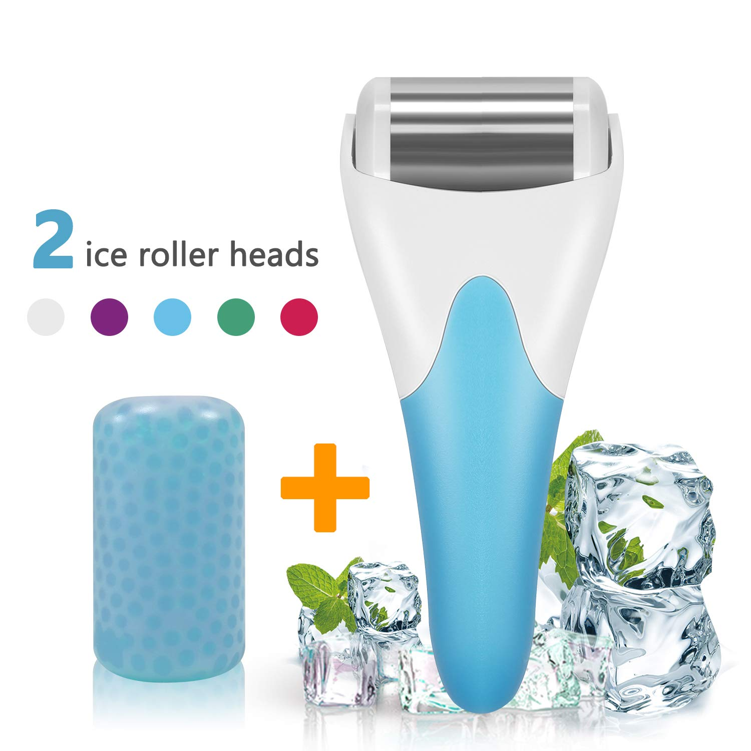 Ice Roller,SPANLA 2 Ice Rollers for Face & Eye,Puffiness,Migraine,Pain Relief and Minor Injury. (Blue)