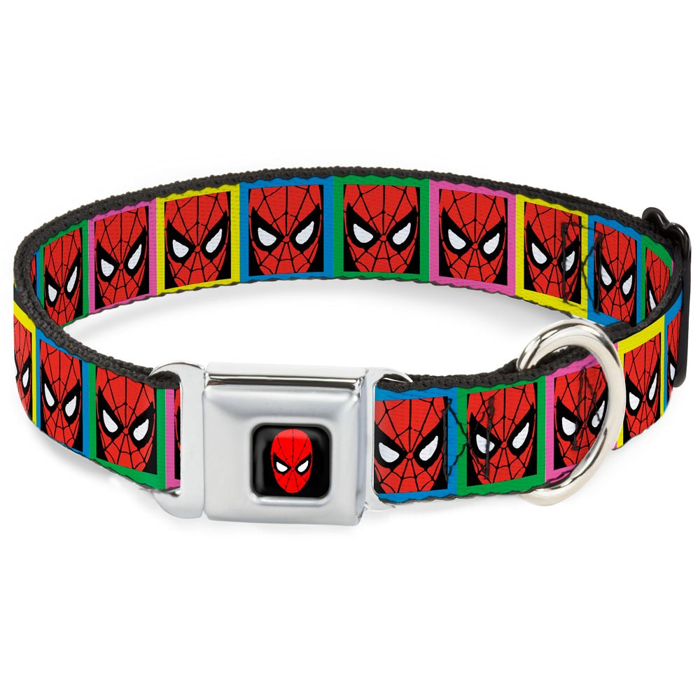 Buckle-Down DC-WSPD020-WM Dog Collar Seatbelt Buckle, Spider-Man Face Multicolor Blocks, 1.5  by 16-23
