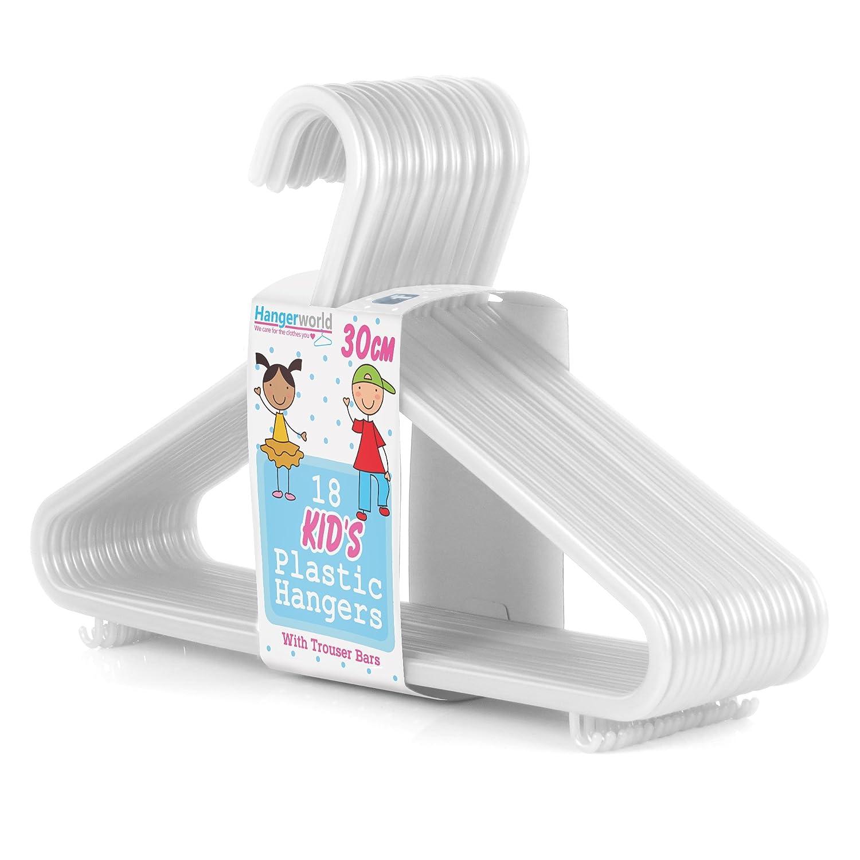 HANGERWORLD Pack of 54 White Plastic Coat Hanger with Trouser/Skirt Bar for Baby & Toddler Clothes - 30cm (11.5